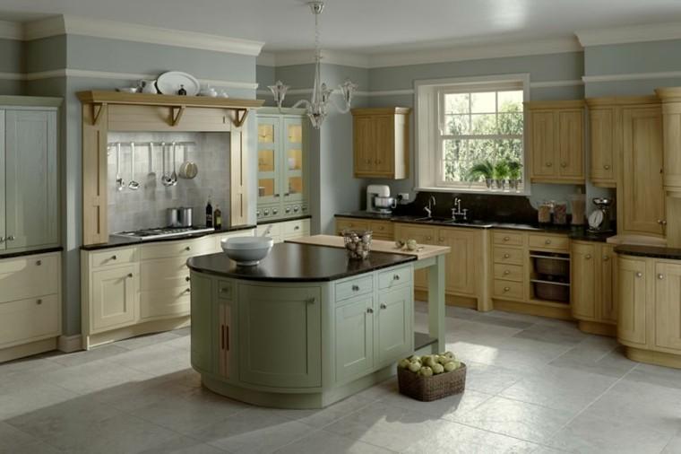 cocina clasica isla pequena color verde claro ideas