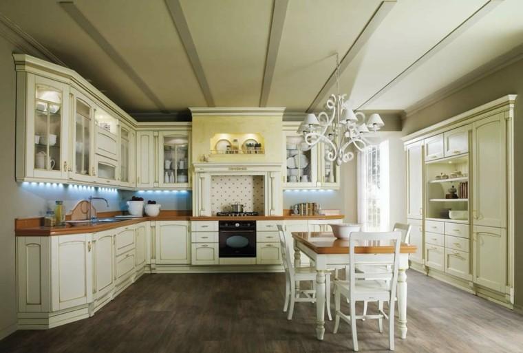 cocina clasica lugar comer lampara preciosa ideas