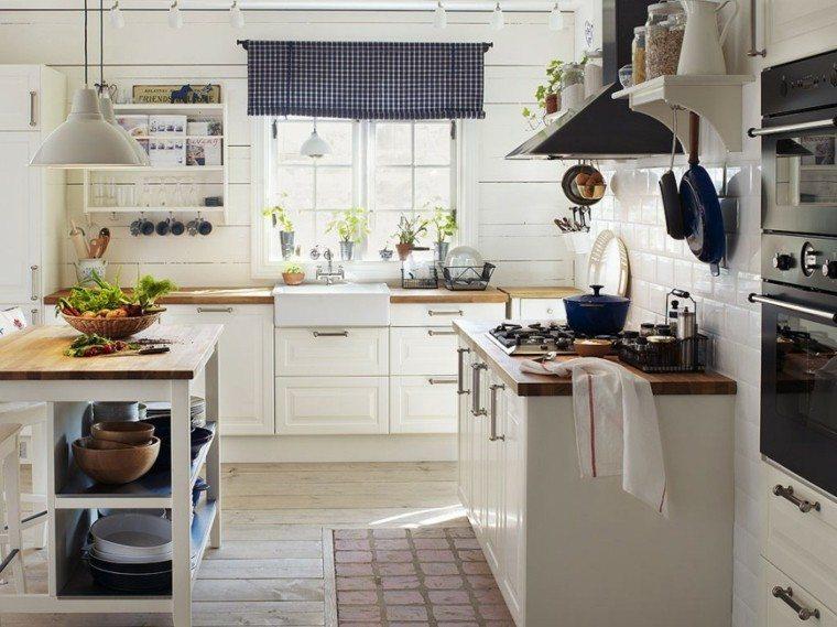 cocina clasica muebles estantes color blanco ideas