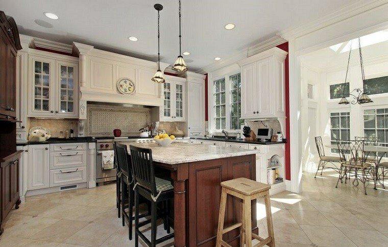 cocina clasica muebles madera blanca isla central ideas - Cocinas Clasicas Blancas