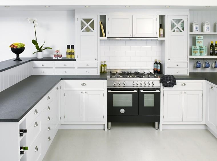 cocina clasica pared ladrillo blanco estufa negra ideas