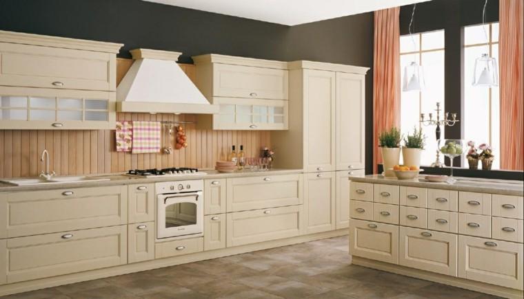 cocina clasica pared laminas madera amplia ideas