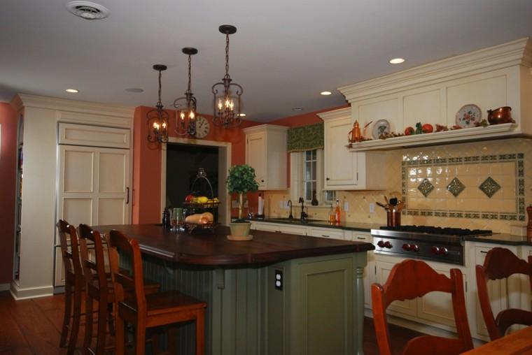 cocina clasica preciosa colores oscuros isla ideas
