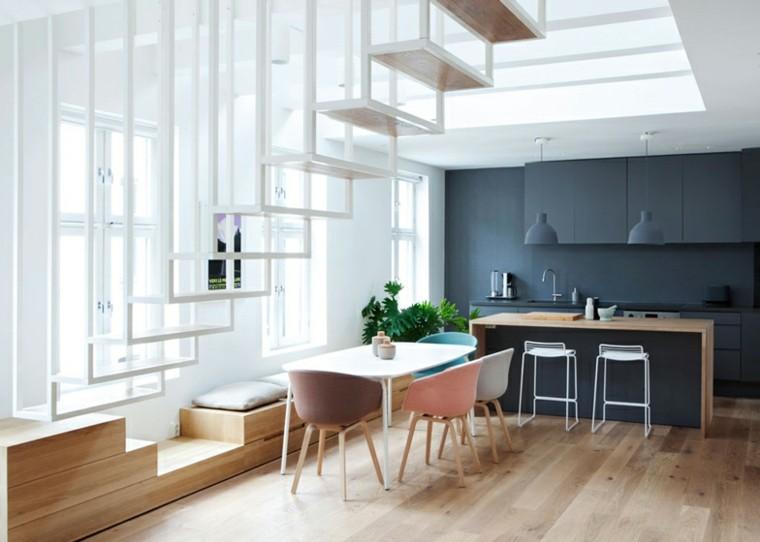 cocina comedor diseño moderno escalera