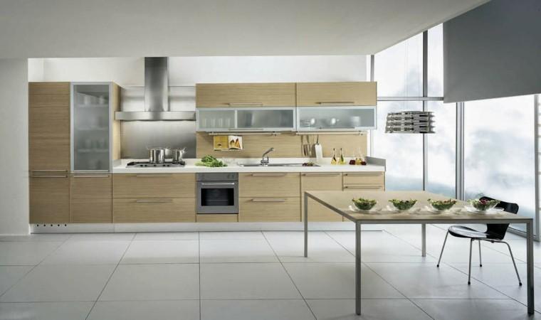 Color blanco y madera de roble para las cocinas modernas - Cocinas italianas diseno ...