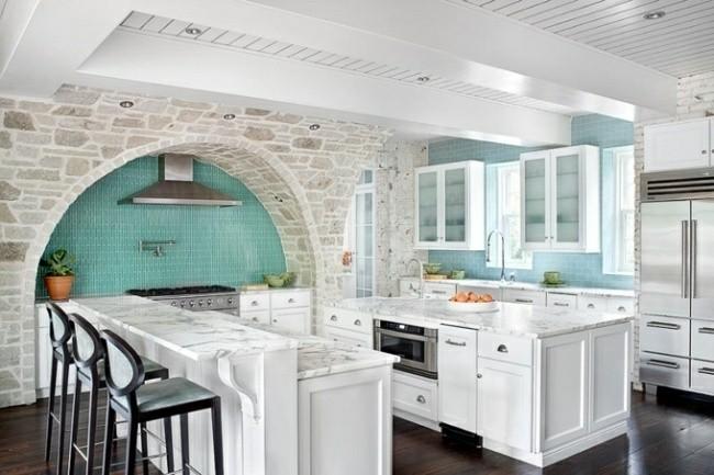 cocina diseño piedra celeste turquesa
