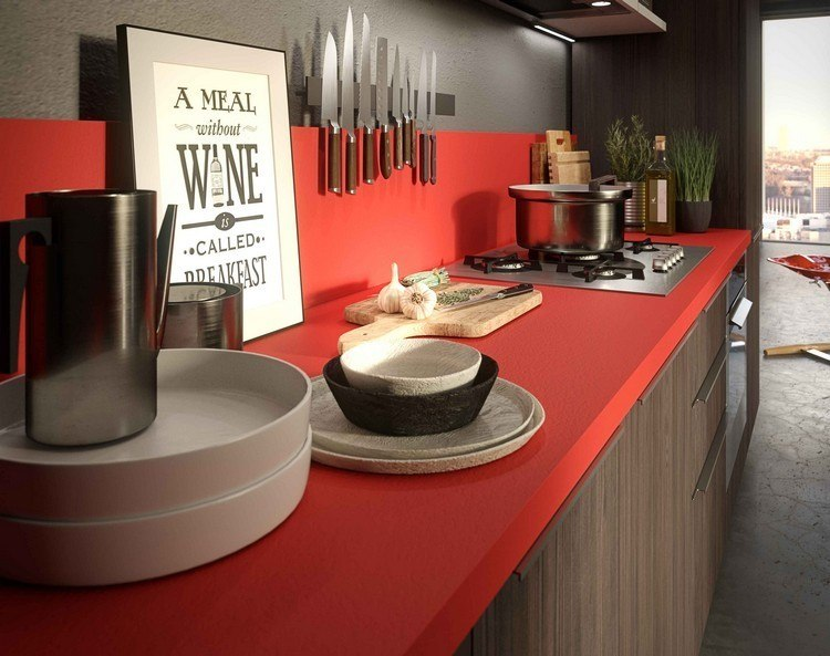 cocina diseño color rojo madera