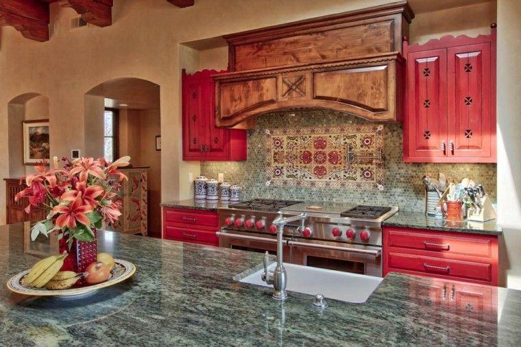 cocina diseno mediterraneo armarios madera roja ideas