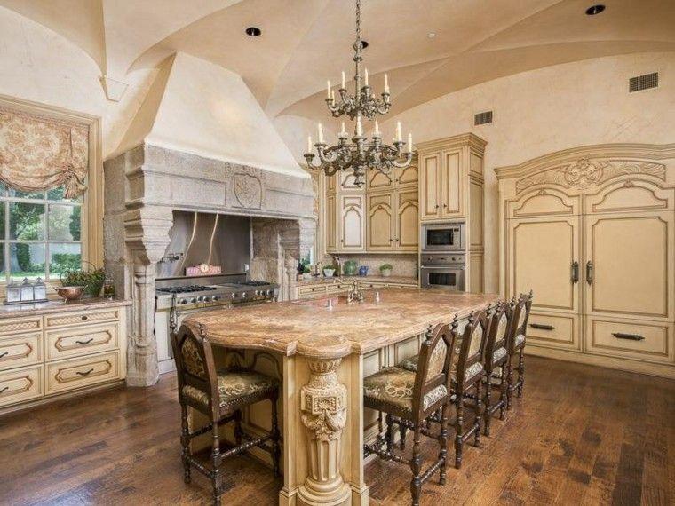 cocina diseno mediterraneo lampara colgando techo preciosa ideas