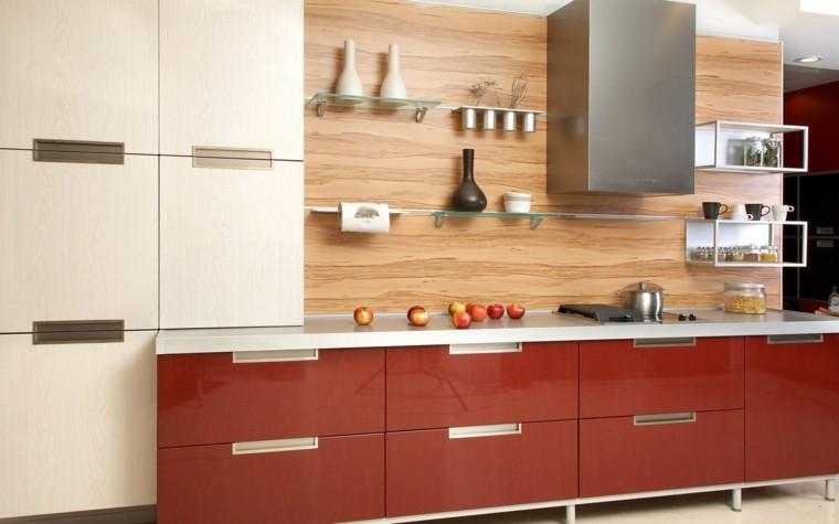 cocina estanterias cristal madera pared muebles rojos ideas