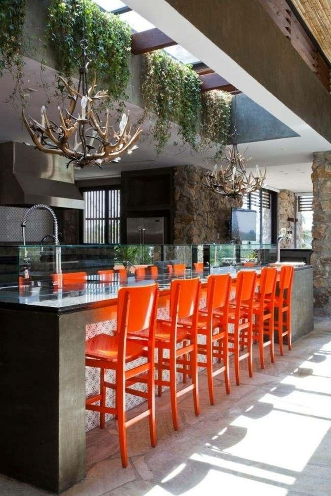 cocina exterior sillas color naranja