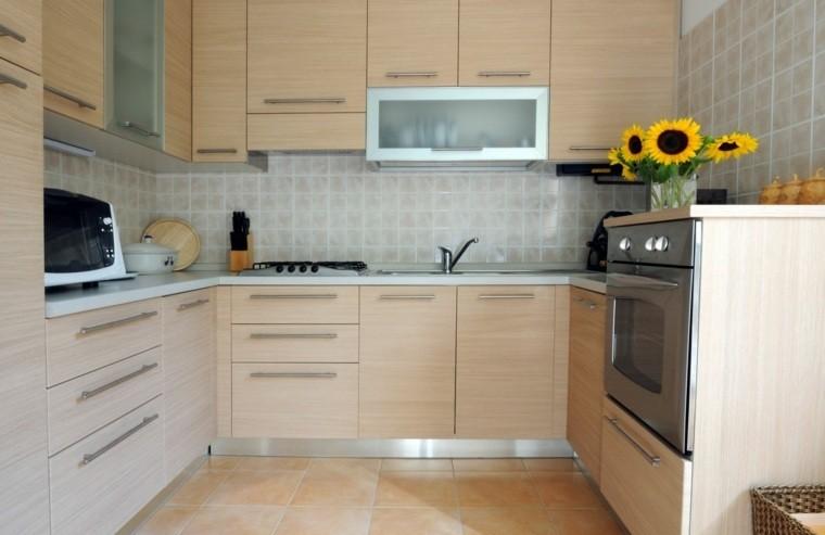 cocina forma U moderna color beige muebles ideas