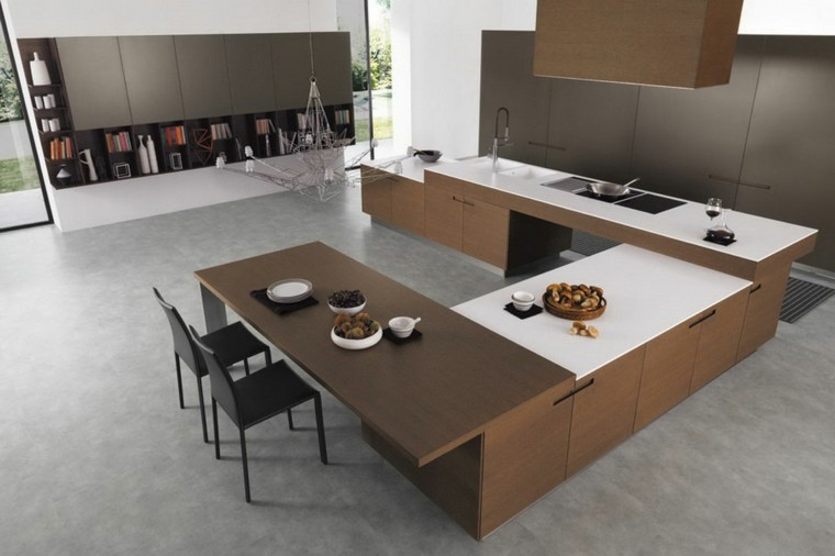 cocina forma u moderna color marron oscuro sillas negras ideas