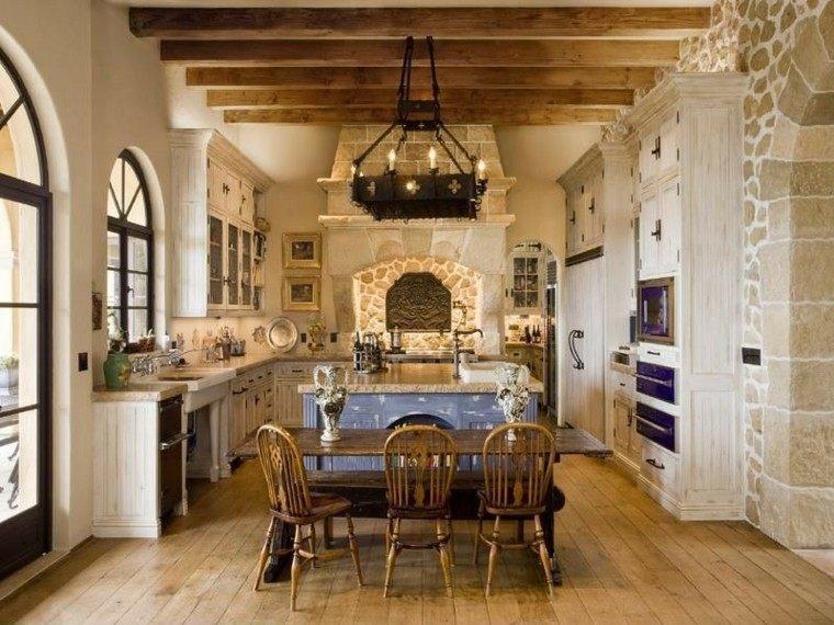 cocina forma U moderna estilo rustico mesa madera ideas