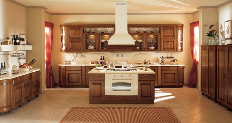 cocina forma U moderna isla pequena espacio amplio ideas