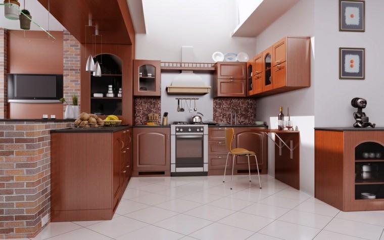 cocina forma U moderna mesa plegable pequena ideas
