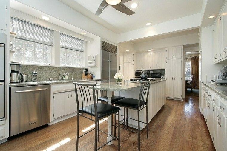 cocina forma U moderna muebles blancos estilo campestre ideas