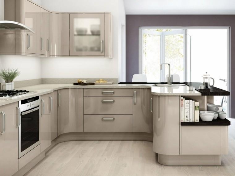 cocina forma U moderna muebles color gris precioso ideas