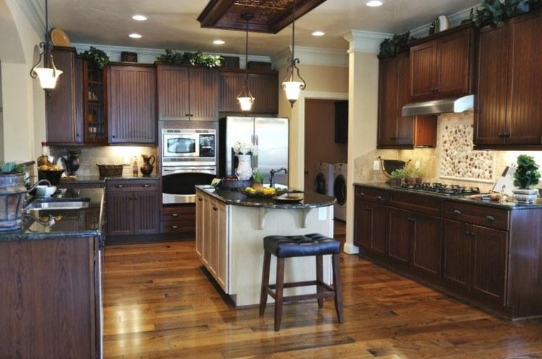 cocina forma u moderna muebles negros isla blanca ideas