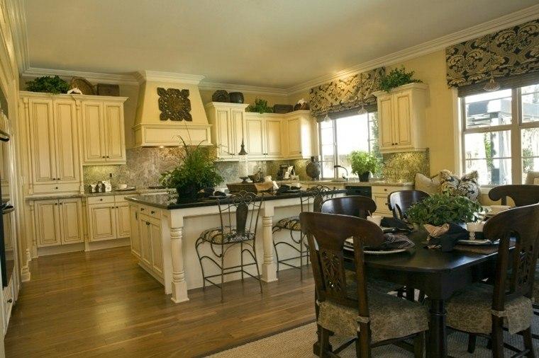 cocina forma U moderna plantas naturales decorativas ideas