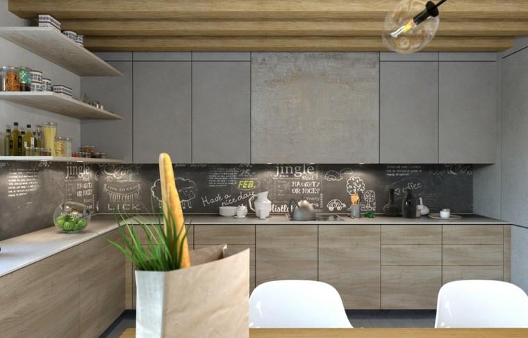 diseño cocina techo madera