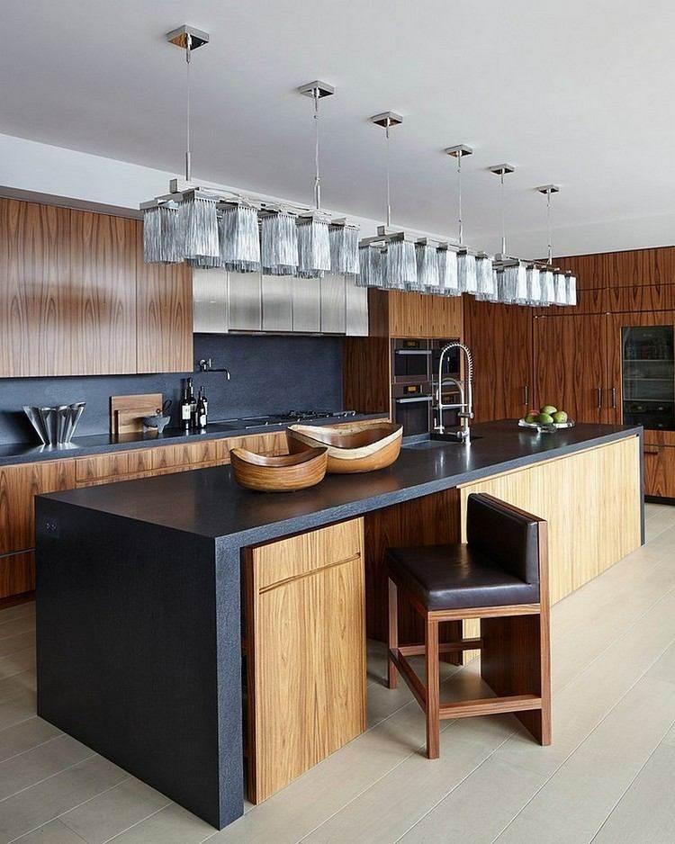 Decoracion de cocinas a todo color 78 ejemplos - Cocina encimera negra ...