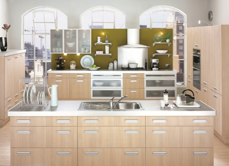 Color blanco y madera de roble para las cocinas modernas for Maderas para cocinas