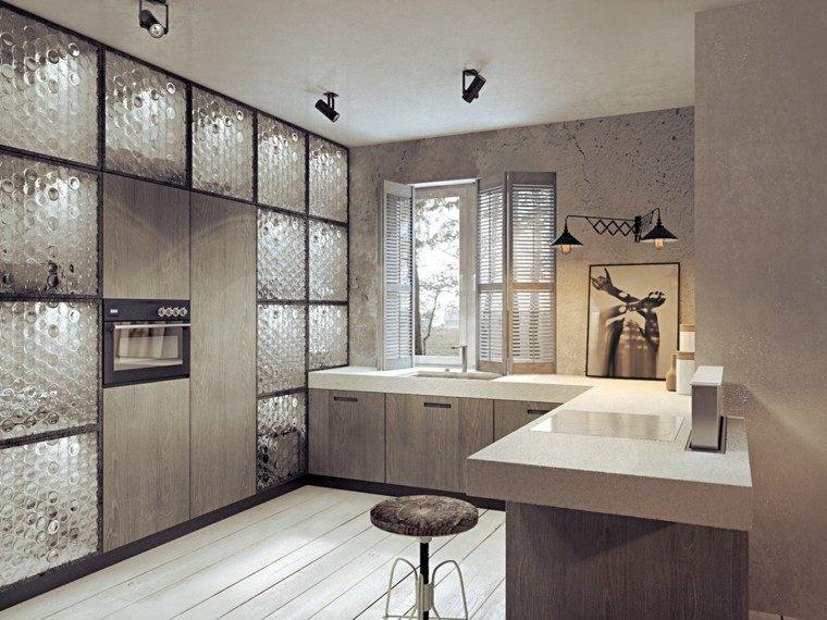 cocina mdoerna paredes cemento gris