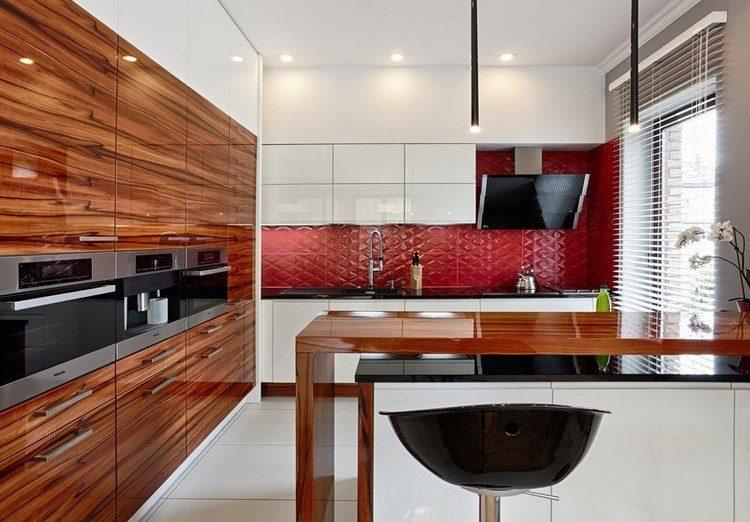 cocina moderna azulejos madera lacada