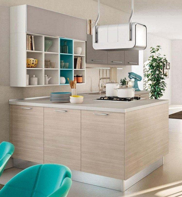 diseño cocina moderna beige turquesa
