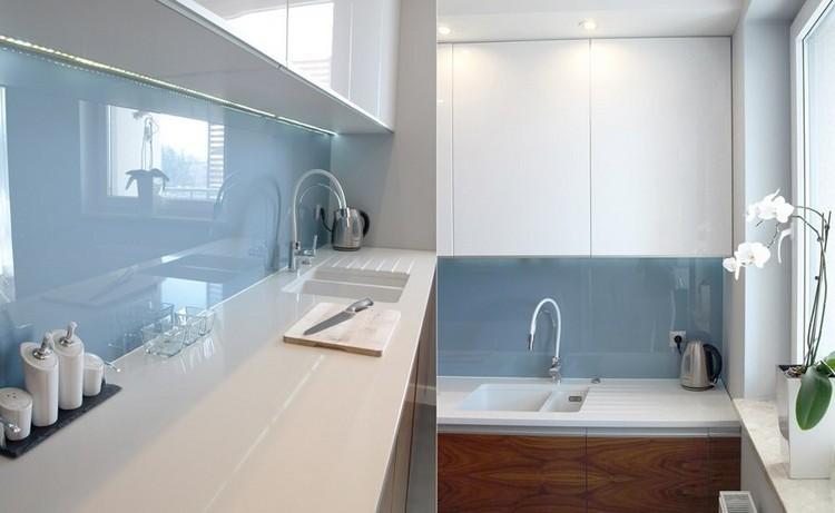 cocina moderna blanco celeste lecado