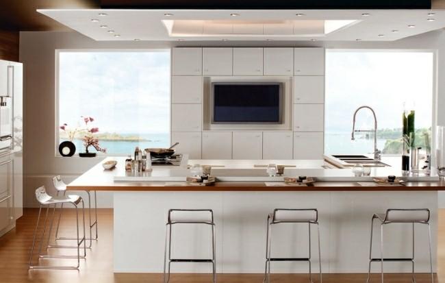 cocina moderna blanco madera vistas