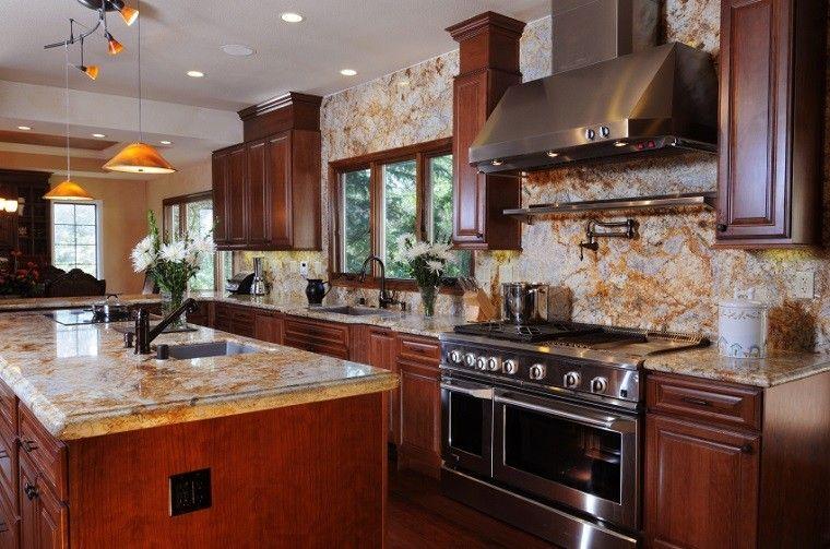 cocina moderna encimera pared granito precioso ideas