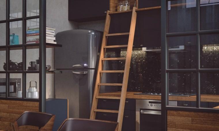 cocina moderna escalera madera diseño