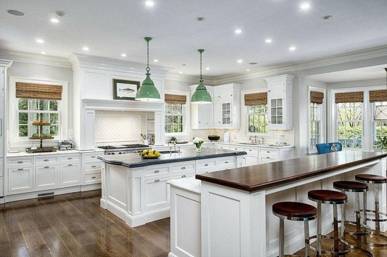 cocina moderna forma U encimera barra madera ideas