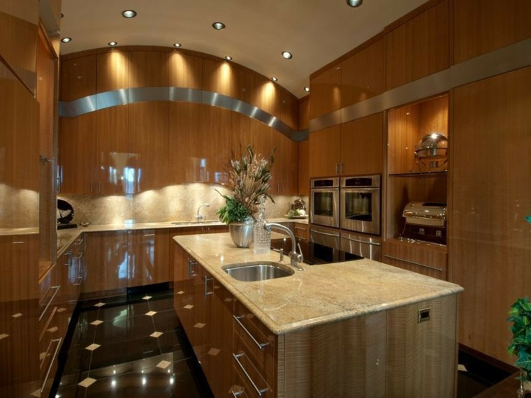 cocina moderna forma U estrecha muebles madera ideas