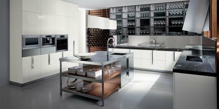 cocina moderna forma U isla acero medio ideas