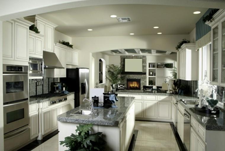 cocina moderna forma U isla encimera granito ideas