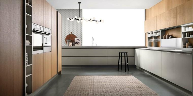cocina moderna forma U muebles color gris ideas