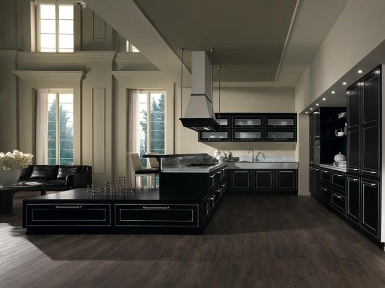 cocina moderna forma U negra suelo madera ideas