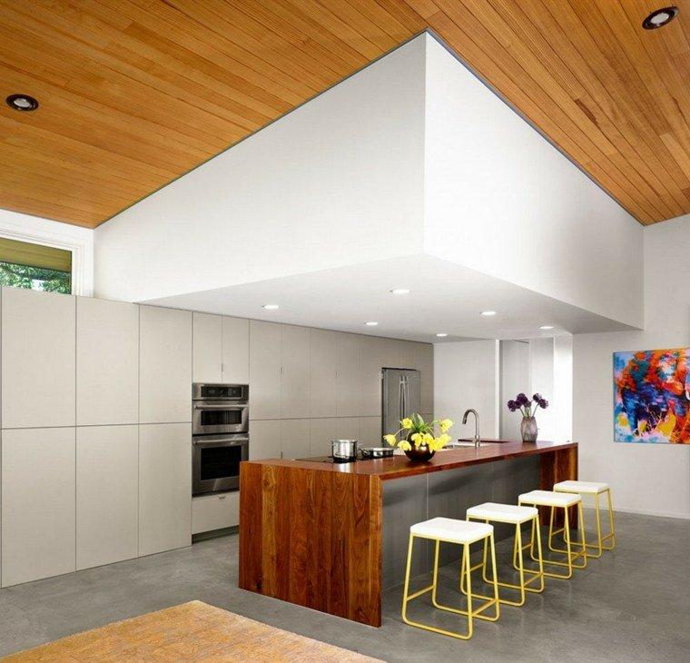 cocina moderna isla madera acero
