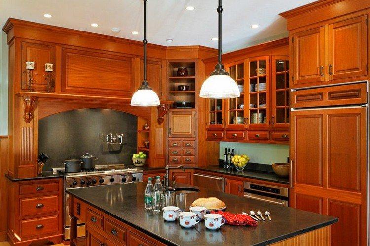 cocina moderna muebles madera isla encimera negra ideas
