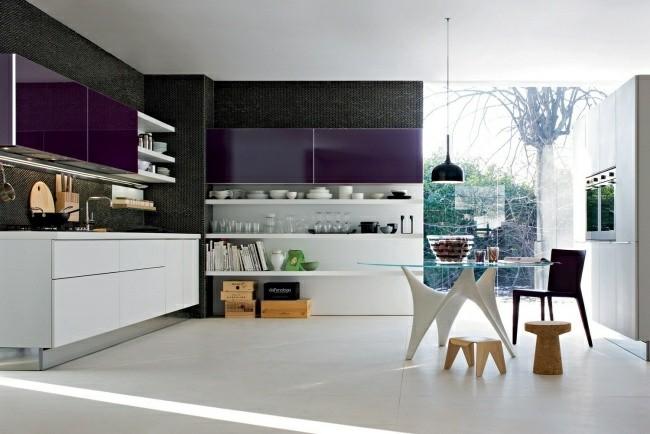 cocina moderna muebles morados lacados