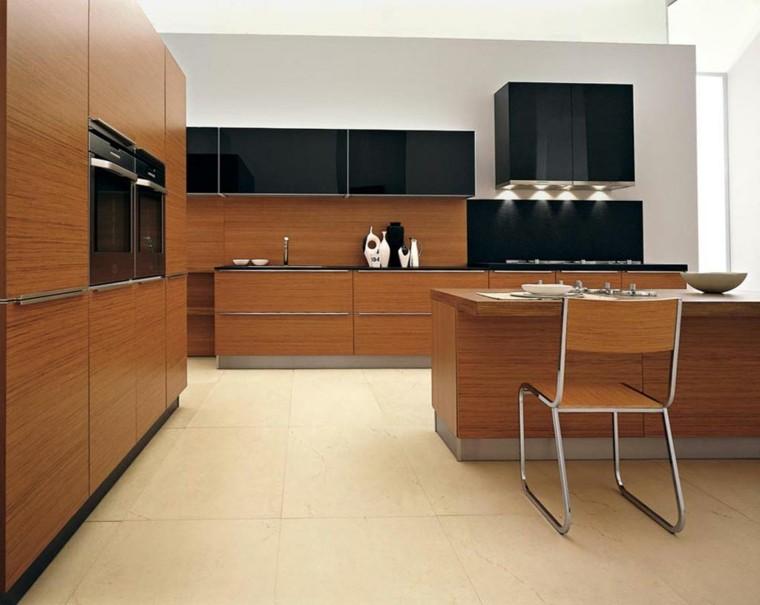 cocina moderna muebles madera negros