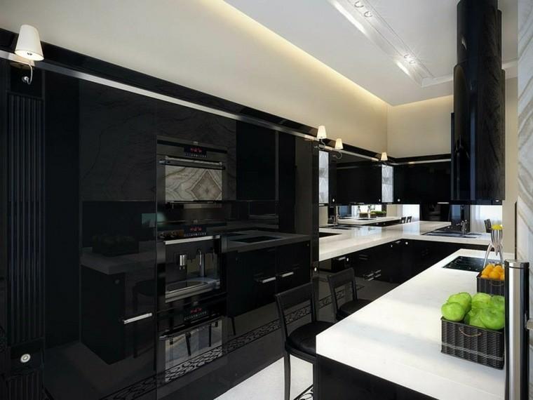 cocina moderna negra armarios brillantes ideas