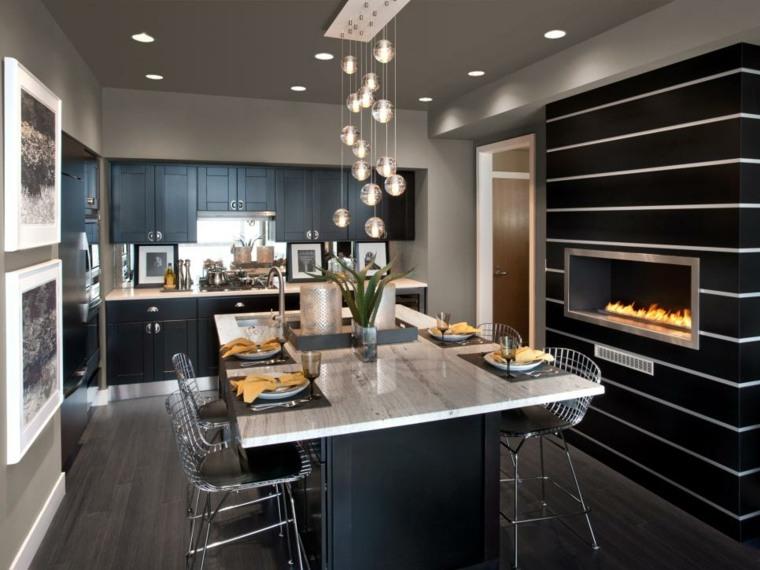 cocina moderna negra chimenea preciosa ideas