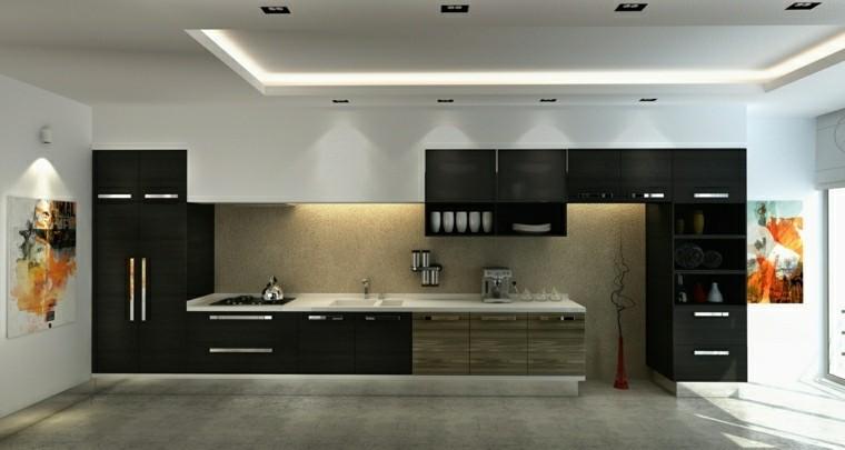 cocina moderna negra cuadros decorativos ideas