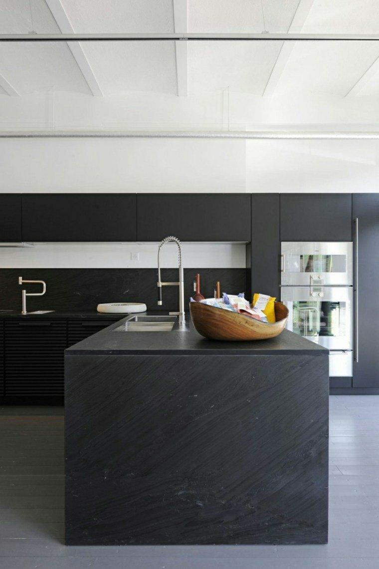cocina moderna negra elegante isla idead