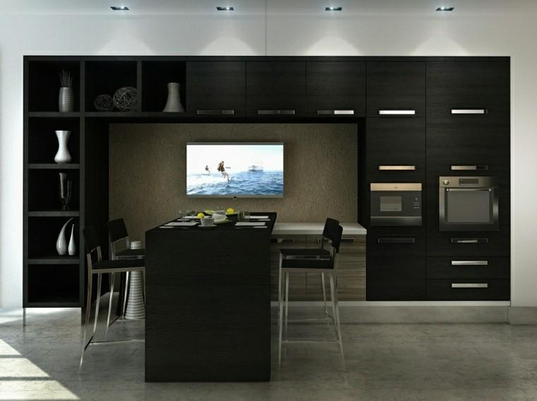 cocina moderna negra estantes decoraciones ideas