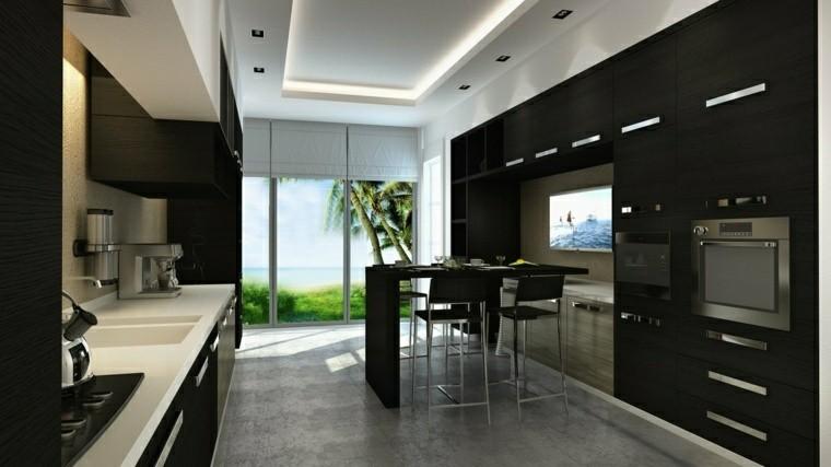 cocina moderna negra iluminacion LED techo ideas